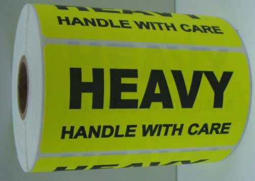 1 Roll 500 4x2 Yellow HEAVY HANDLE WITH CARE Special Handling Shipping Labels Stickers]()