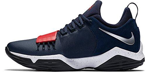 Nike Mens Pg 1 Chaussures De Basket-ball Marine / Rouge / Blanc