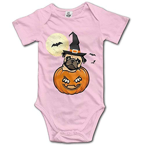 (RS-pthrAA Halloween Pug Dog Funny Toddler Baby Outfit Creeper Short Sleeves Jumpsuits)