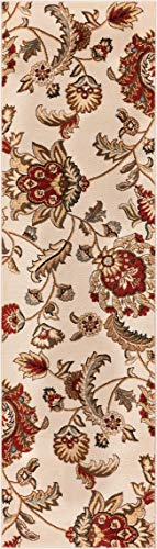 "Well Woven Barclay Ashley Oriental Ivory Floral Area Rug 2'3"" X 7'3"" Runner"