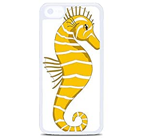 iPhone 5C Case Cover, Yellow Hippocampus Polycarbonate Plastic Hardshell Case Back Cover for iPhone 5C White