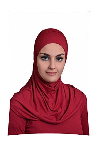 Burgundy Al Ameera Muslim Hijab Cotton Amira 2 Piece Hood & Hijab Tube Underscarf Cap by Al Amira