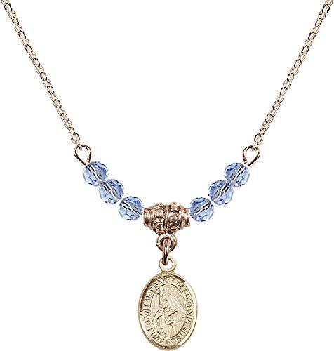 18-Inch Hamilton Gold Plated Necklace with 4mm Light Sapphire Birthstone Beads and Saint Margaret of Cortona Charm. Patron Saint of - 4 Cortona Light