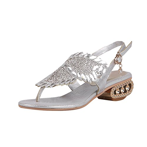 Charm Foot Womens Fashion Rhinestone Mid Heel Thone toe Sandals JhBlQ