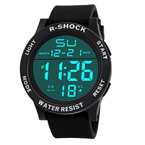 Digital Stop Watch, Hosamtel LCD Waterproof Rubber Sport Wrist Watch for Men Boy (White) (Atomic Time Analog Digital Watch)