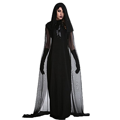 Costour Women's Lady Reaper Scary Ghost Demon Costume Black -