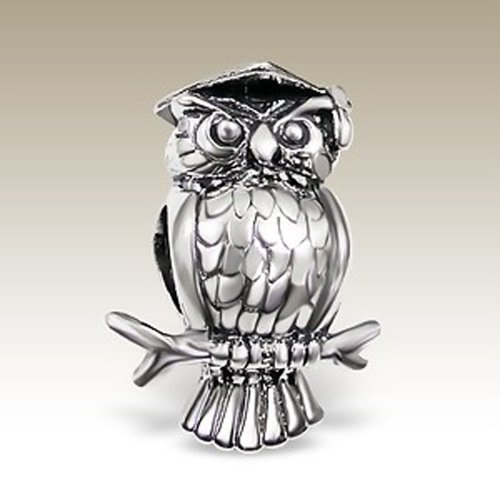 3D Owl Shaped Owl Graduation Plain 925 Sterling Silver Bead Charm (E5734)