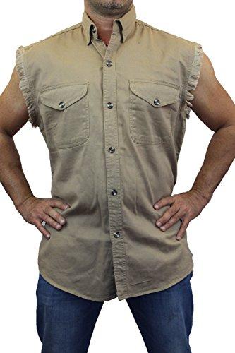 SAND Basic Plain Sleeveless Denim Biker Shirt (5X)