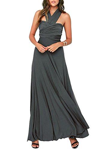 Vivicastle Wrap Long Maxi Infinity Women's Charcoal Multiway Convertible Dress FfwxqFnZrp