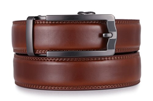 (Mio Marino Ratchet Click Belts for Men - Mens Comfort Genuine Leather Dress Belt - Automatic Buckle - Style 185 - Burnt Umber - Adjustable from 28