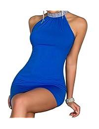 Blidece Sexy Fashion High Neck Rhinestone Ball Party Clubbing Clubwear