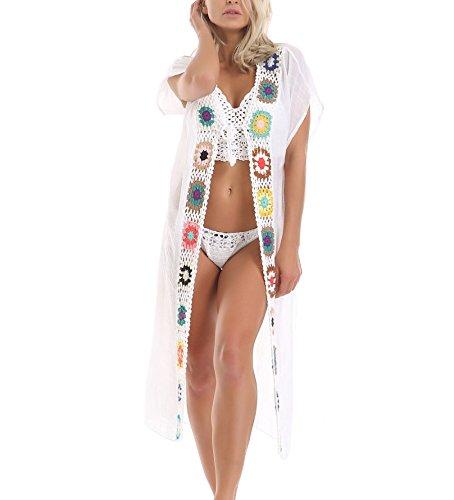 Beach Long Up Bikini Cardigan Crochet Floral Up Dress Cover Slit Swimwear 180nWq04
