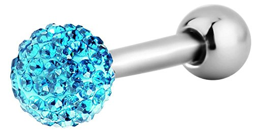 - Forbidden Body Jewelry 16g 6mm Surgical Steel Aqua Blue 3mm Ferido Crystal Ball Top Cartilage Piercing Barbell