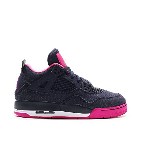 Jordan Big Kids Air Jordan 4 Retro GG (navy / dark obsidian / metallic gold / vivid pink) (Womens Jordans Shoes Size 9)