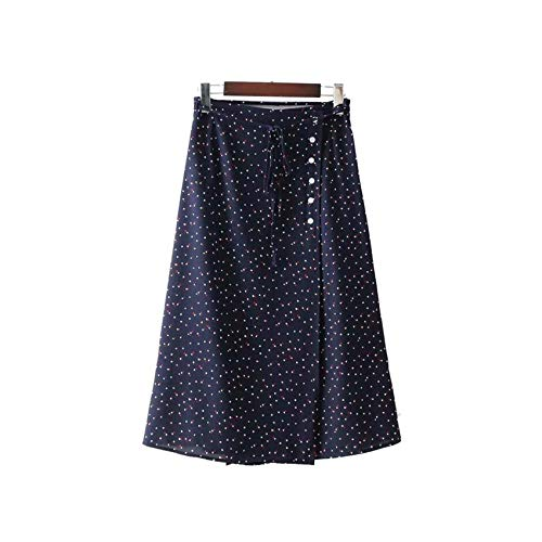 (Women Sweet Bow tie Polka dots wrap Skirt Vintage Ladies Casual Chic mid Calf Skirts,as picture2,S)