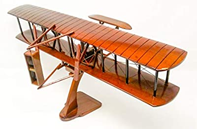 Wright Flyer Replica Airplane Model Hand Crafted with Real Mahogany Wood