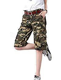 Women's Casual Loose Fit Multi-Pockets Camouflage Twill Bermuda Wide Leg Cargo Shorts
