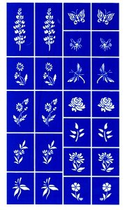 Etching Dichroic Glass - Rub N Etch Stencil - Flowers