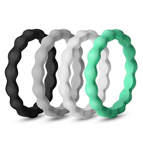 QVOW Silicone Rings for Women, Thin, Affordable and Stackable Rubber Wedding Bands for Athletes, Workout, Fitness, Gym, Exercise, Gear Design, 4 Packs, 3.0mm Wide, Size: 6 (16.5mm)