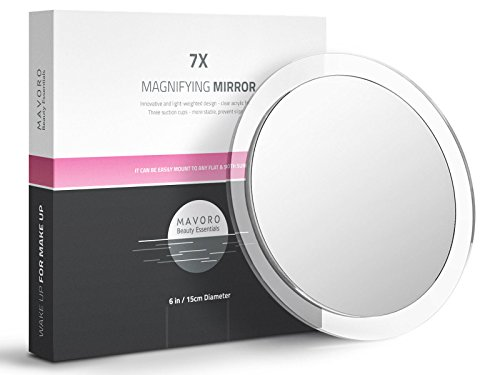 7X Magnifying Mirror - Three Suction Cups - Use for Makeup Application, Eyebrow Tweezing, Blackhead, Hair Removal - 6 Inch Magnified Mirror with Clear Magnification by Mavoro Beauty Essentials