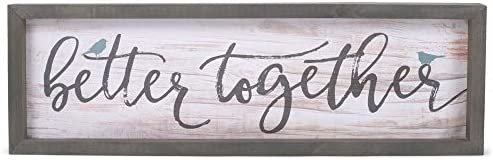 P. Graham Dunn Better Together Birds White Wash Grey 24.6 x 7.8 Inch Solid Pine Wood Farmhouse Frame Wall Plaque