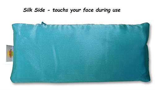 EYE PILLOW LAVENDER + Flax Seed Filled + Carry Bag. Silk Fabric - Use for Yoga, Natural Sleep Aid, Stress Relief, Anxiety Relief, Meditation, Massage Great Relaxation Gift by Savasana Now (Image #3)