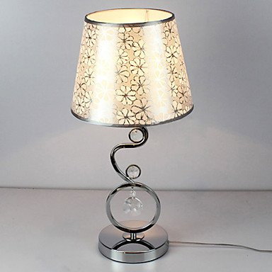 Contemporary Table Light with Elegant Beautiful Pattern Flowers Fabric Shade Crystal Decor (Pattern Crystal Table Lamp)