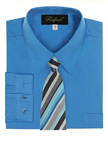 (Boy's Dress Shirt & Tie - Vivid Blue, 18)