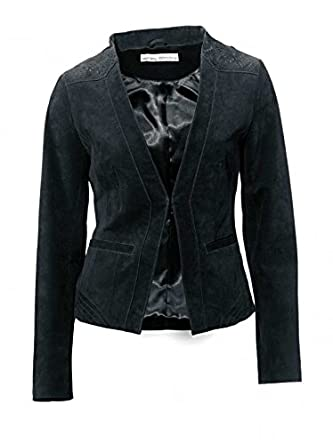 Ashley Brooke Damen Designer Velourslederjacke, schwarz