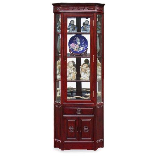 China Furniture Online Rosewood Corner Cabinet, 20 Inches Longevity Design Display China Cabinet Dark Cherry Finish ()