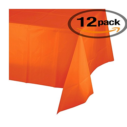 12-pack Disposable Plastic Tablecloths - 54 x 108 Inch size Table Cloth – - 54 Orange