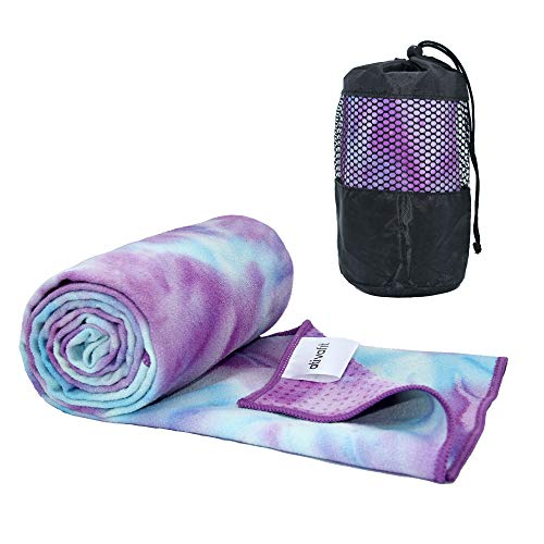 """ATIVAFIT Yoga Towel Mat Mate Towel with Non Slip Resin Particles Hot Yoga Towel for Sport Gym Workout Fitness Potable Beach Towel Sweat Absorbent 72"""" x 24"""""""