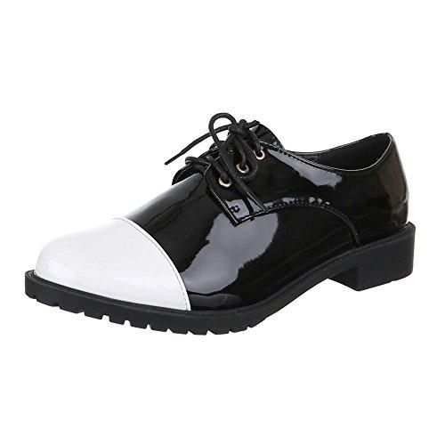 Ital-Design Damen Schuhe, EL15580-1, Halbschuhe Schnürer Schwarz