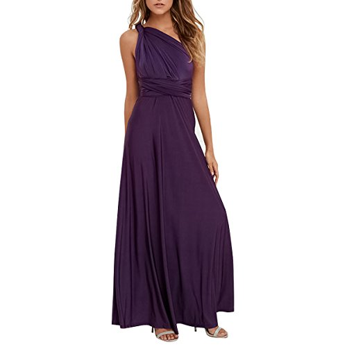 Women Transformer Convertible Multi Way Wrap Long Prom Maxi Dress V-Neck Hight Low Wedding Bridesmaid Evening Party Grecian Dresses Boho Backless Halter Formal Cocktail Dance Gown Deep Purple Medium