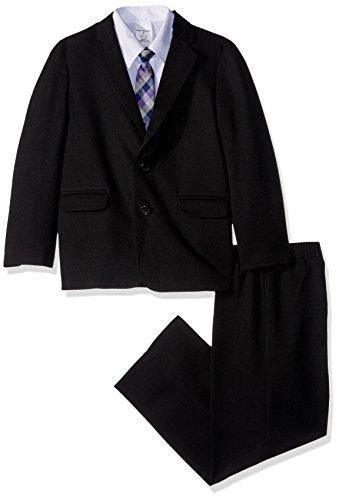 Van Heusen Boys' Little' 4-Piece Formal Dresswear Suit Set, Black Herringbone, 7