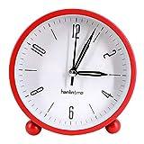 lighted tabletop clock - Danse Jupe Round Silent Analog Alarm Clock Non Ticking,Night Light,Battery Operated Bedside/Desk Alarm Clock(Red)