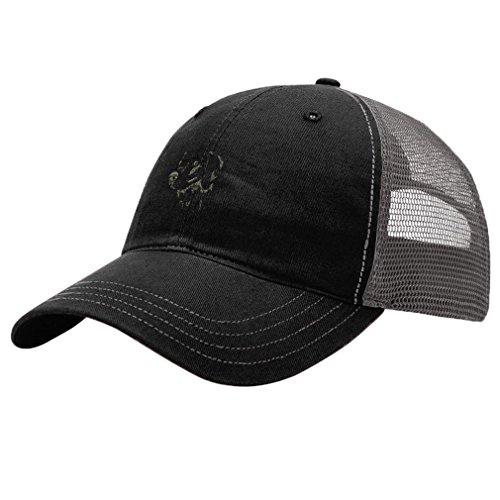 Weimaraner Dog Style 3 Embroidery Design Richardson Cotton Front/Mesh Back Cap Black/Charcoal (Hat Weimaraner)