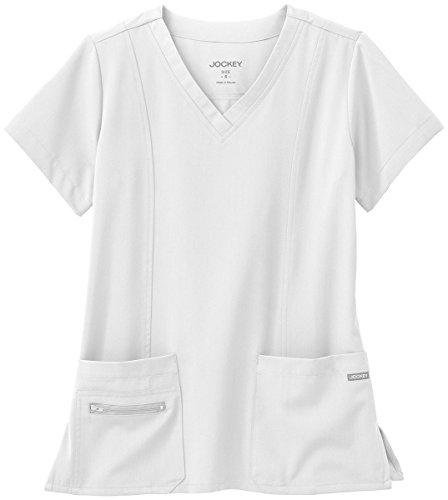 Modern Fit Collection By Jockey Women's Zipper Pocket V-Neck Solid Scrub Top Small White by Jockey® Scrubs