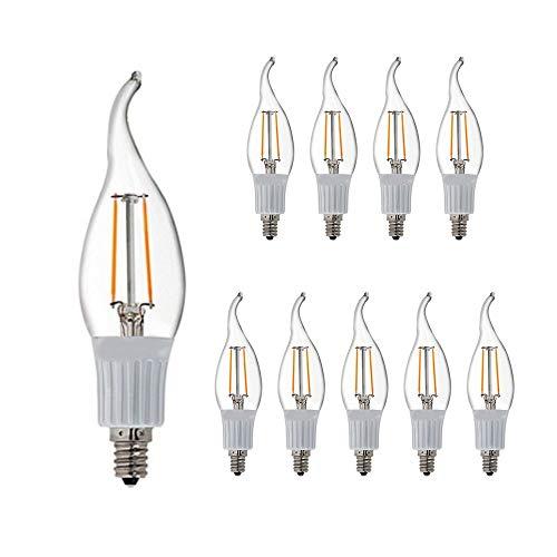 LED CA10 E12 Candelabra Style LED Filament Chandelier Light Candle Bulb 3W, 30W Equivalent 2800K Warm White 10Pack
