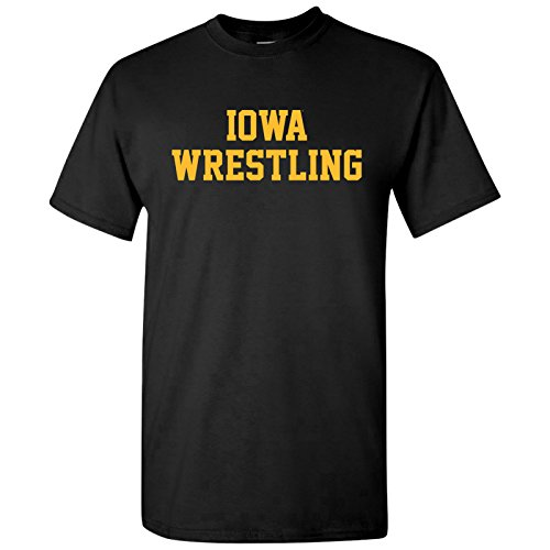 Iowa Hawkeyes Block Iowa Wrestling T-Shirt - Large - Black