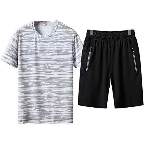 2-Piece Suit Men's Summer Leisure Fashion Printing Plus Size Short Sleeve Shorts Sports Sets White -