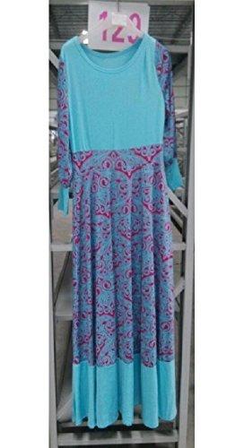 Jaycargogo Womens Manches Longues Été Imprimé Floral Plage Musulman Bleu Robe Maxi Dubai