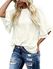 Item Specific:  Women casual beige top features 3/4 ruffle bell sleeves. Classical style with its tiered sleeves, round neck and button closure at back. No stretch fabric. Unlined.  Available Color: Beige, Black, Navy Blue.  Care Instr...