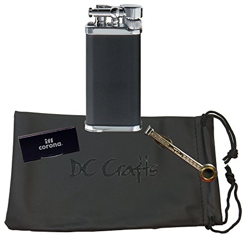 IM Corona Old Boy Pipe Lighter - Includes DC Crafts Pipe Bag, Czech Pipe Tool, & 5 Pack of Flints - (Black/Chrome)