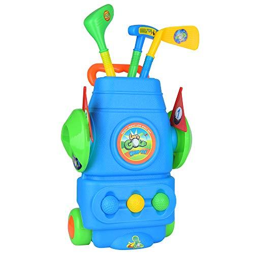 Portzon Golf Clubs, juego de palos de golf con ruedas, 3 palos 3 pelotas de golf Accesorios de golf coloridos para deportes al aire libre