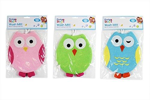 Baby Wash Mitt Pack of 3 Owl Design Bath Time Towel Flannel Cloth Washcloth