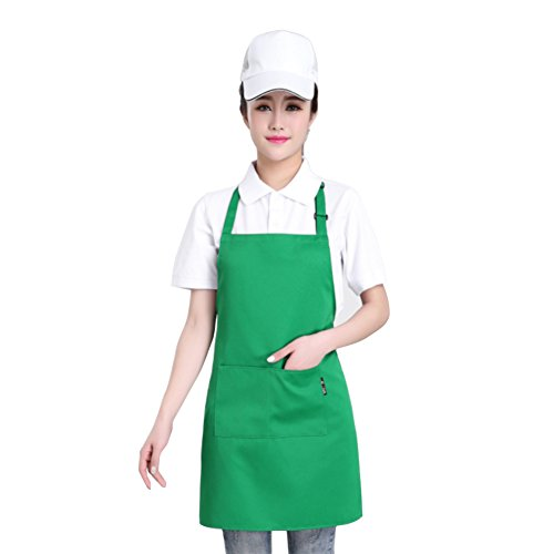 Cotton Adjustable Kitchen Chef Apron with Pocket and Extra Long Ties, Commercial Men & Women Bib Apron for Cooking, Baking, Crafting, Work Shop, BBQ, Green, 29.5'' x 24.5'' by Laidian