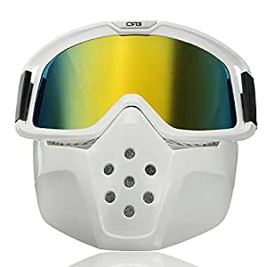 cococina desmontable modular máscara escudo gafas de equitación moto casco amarillo lente