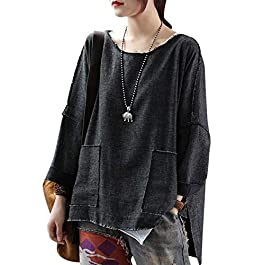 Women's Casual Loose Fit Tee T-Shirts Sweatshirts Tunics Fringed Side Slit High-Low Hemline/Pockets