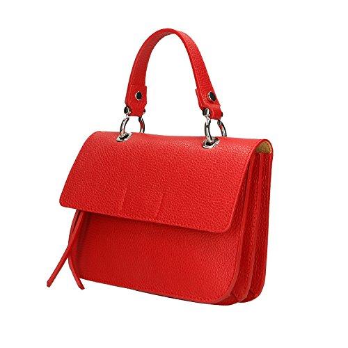 Petit Italie Clutch Borse 23x17x7 Cm véritable Femme en Chicca main Sac à Rouge cuir fabriqué en ptFqnw